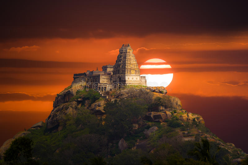 Ancient hilltop temple in Southern India. stock photography