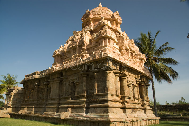 Ancient Hindu Temple in India. Temple tower and facade in Gangai Konda Cholapuram temple stock images