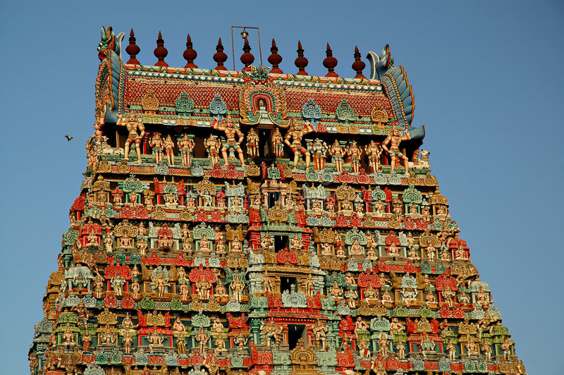 Ancient Hindu Temple in India. This is the temple tower of the Kumbeswaran temple in Kumbakonam, Tamil Nadu, India stock photography