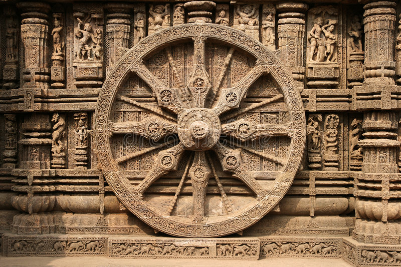 Ancient Hindu Temple at Konark (India). Intricate carvings on a stone wheel in the ancient Surya Hindu Temple at Konark, Orissa, India. 13th Century AD royalty free stock images
