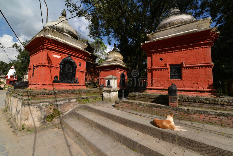 Ancient Hindu temple in Pashupatinath before the earthquake that. PASHUPATINATH - OCTOBER 10: Ancient Hindu temple, now collapsed after the earthquake that hit royalty free stock photos