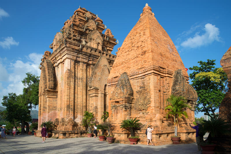 Ancient Hindu temples Cham towers close-up. Vietnam royalty free stock image