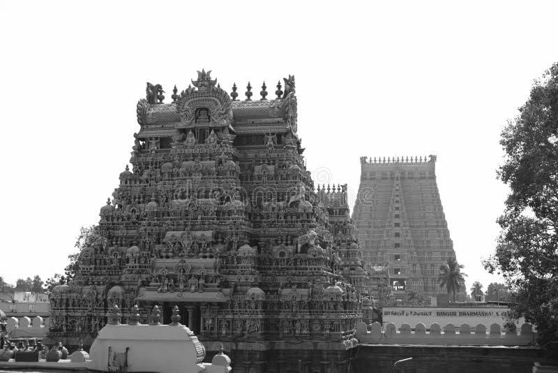 Ancient Hinduism temple in Tiruchirappalli, India. Great towers in an ancient Hinduism temple in Tiruchirappalli, India royalty free stock images