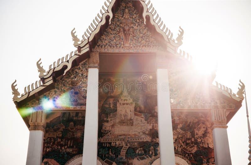 Ancient historic Buddhism mural painting at Wat Uposatharam Temp. MAR 1, 2018 Uthaithani - Thailand : Ancient historic Buddhism mural painting at Wat Uposatharam royalty free stock photography