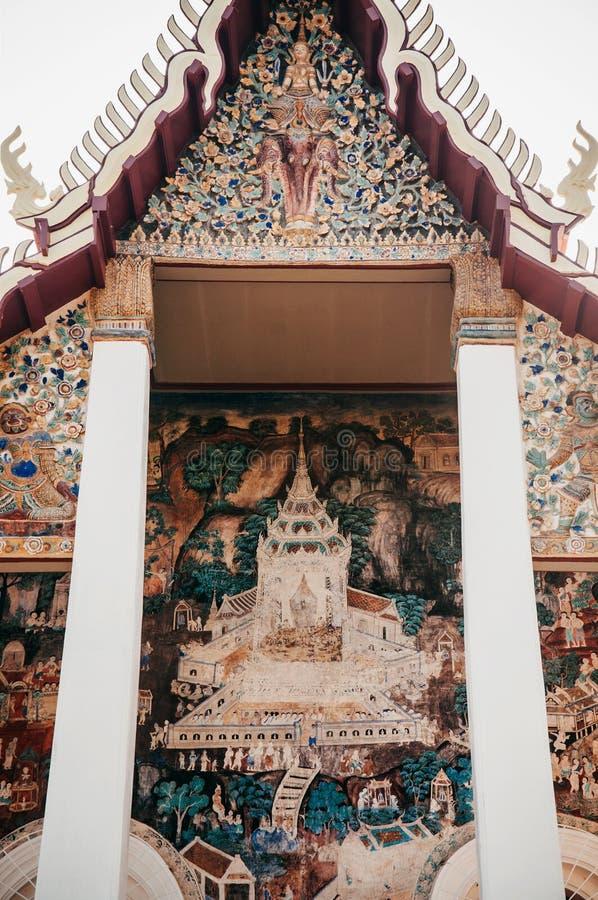 Ancient historic Buddhism mural painting at Wat Uposatharam Temp. MAR 1, 2018 Uthaithani - Thailand : Ancient historic Buddhism mural painting at Wat Uposatharam stock image
