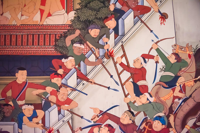 Ancient historical mural painting of the great epic, war battle. Between when Burmese (Myanmar) attack Siam (Ayothaya) kingdom in the fortress wall in old stock images