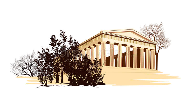 Download Ancient Greece Temple With Trees Stock Illustration - Illustration of famous, athena: 30153460
