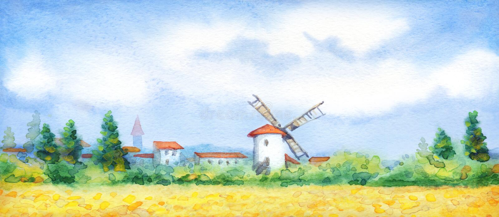 Watercolor landscape. Summer meadow near the barn. Ancient Holland Europe old city scene picture sketch text space. Blue sunny day. Golden dry ripe straw ear vector illustration
