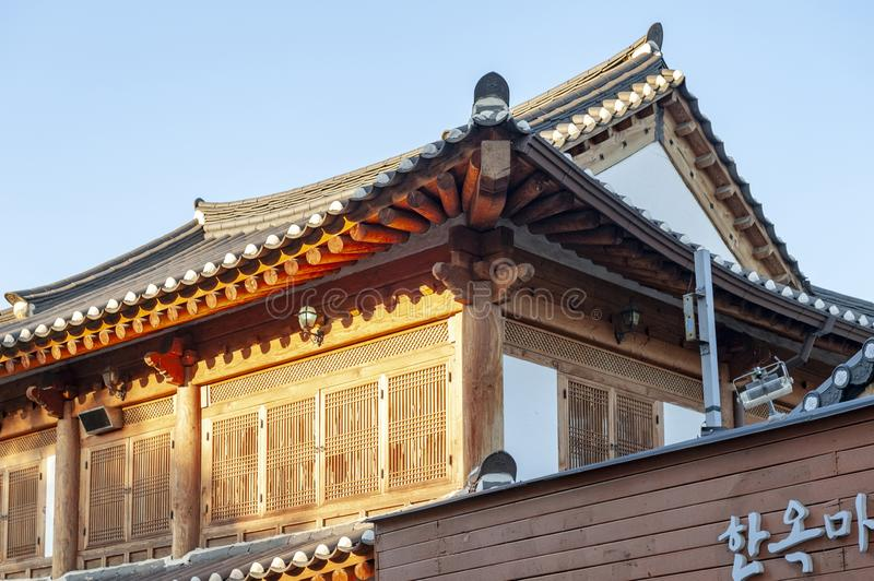 Ancient house built in Korean traditional architecture in Jeonju Hanok Village, South Korea stock photo
