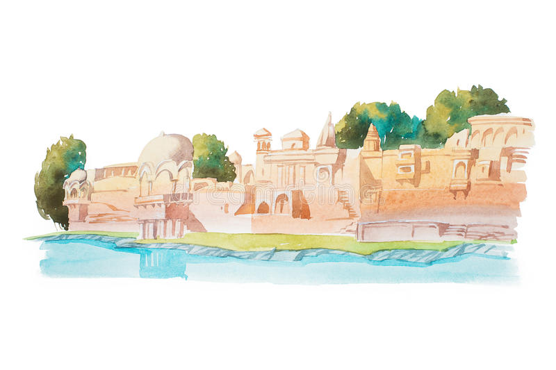 Ancient houses on coastline of the river watercolor illustration. royalty free illustration