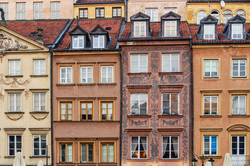 Ancient houses at Market Square of Old Town in Warsaw. Poland. Traditional ancient houses at Market Square of Old Town in Warsaw. Poland royalty free stock photo