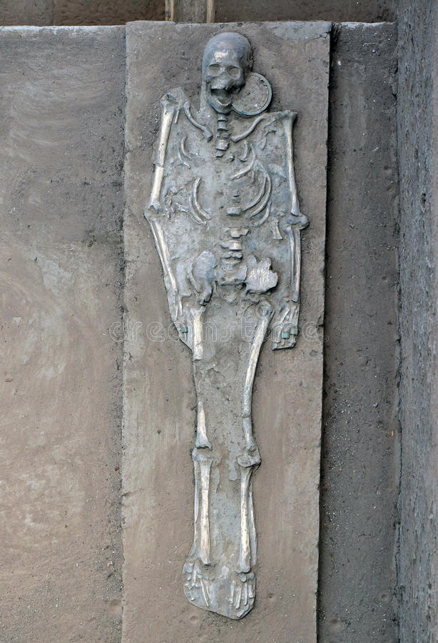 Ancient human skeletons stock photo