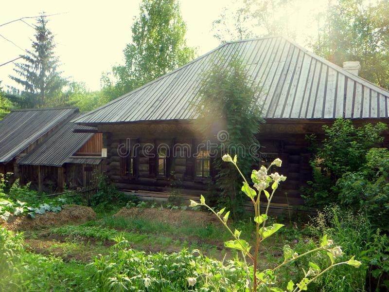 Ancient hut in an ethnographic park. An ancient hut in an ethnographic park, lit by the summer sun stock photos