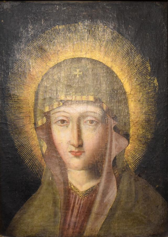 Ancient icon of the Blessed Virgin Mary Mother of God stock photo