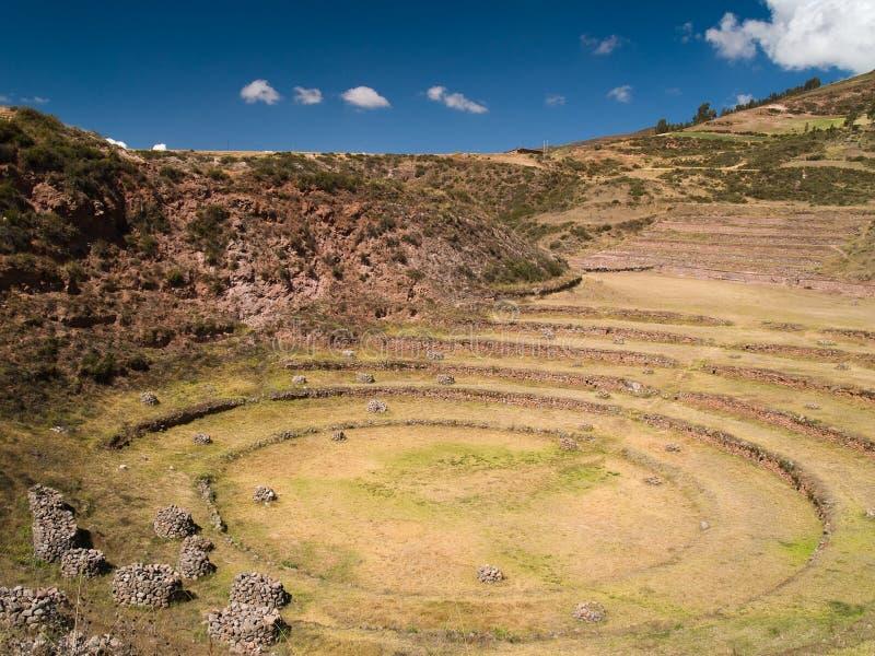 Ancient Inca circular terraces. At Moray, Peru royalty free stock photography