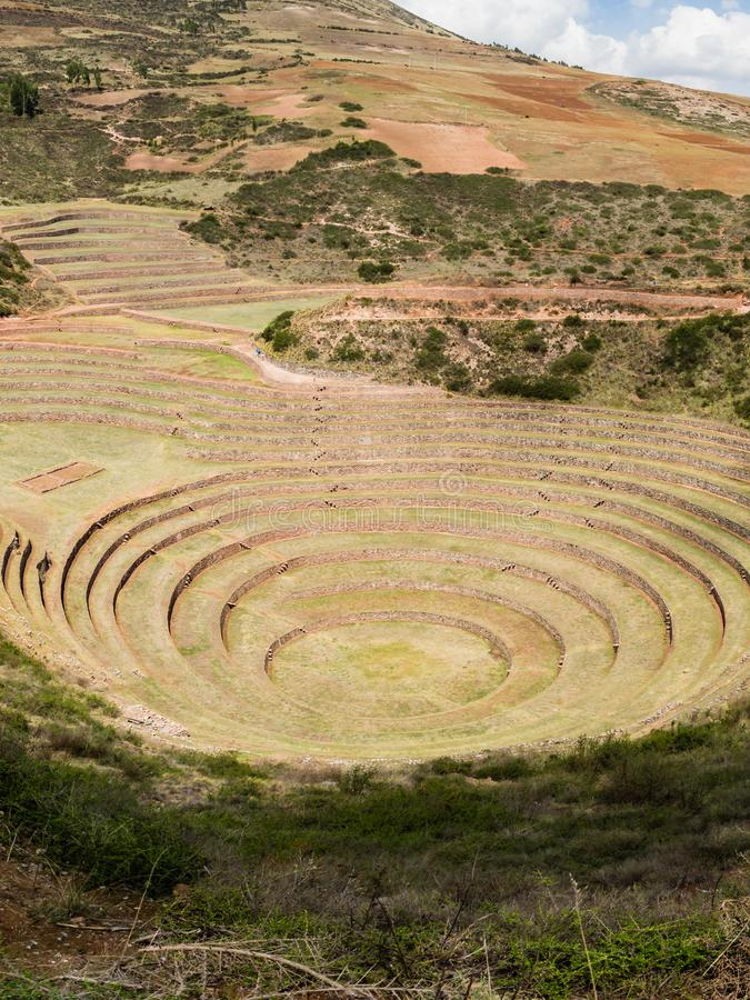 Ancient Inca circular terraces at Moray agricultural experiment station, Peru, South America stock photography
