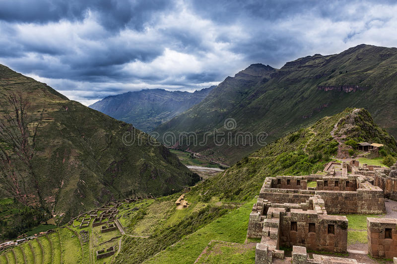 Ancient Inca Ruins in Pisac, Peru. View of the Sacred Valley and ancient Inca terraces in Pisac, Peru stock photo