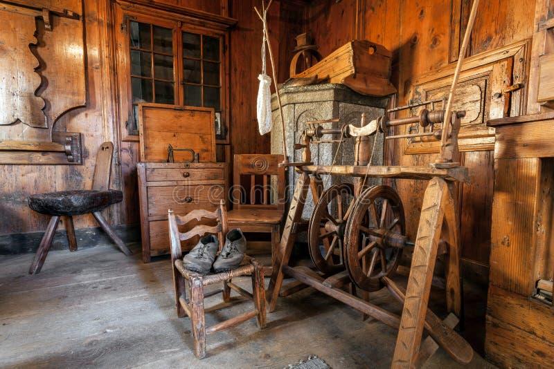 Ancient interior of the Valtellina chalet royalty free stock photo