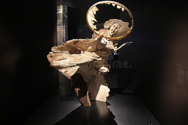Inuit art. A ancient inuit sculpture inside the confluence museum at lyon in france royalty free stock images