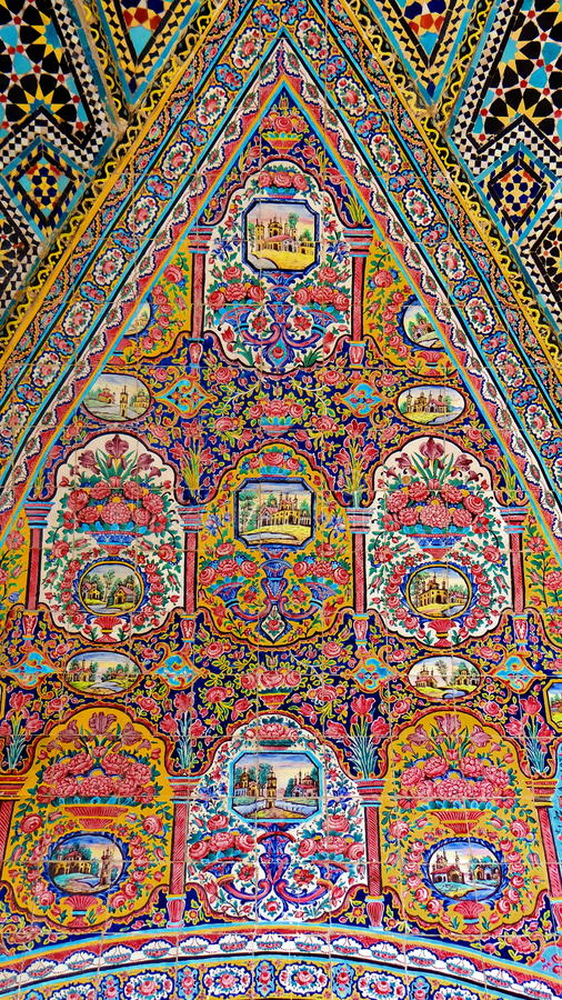 Ancient Iranian Style Tile Paintings. Tile Paintings in Old Iranian Houses royalty free stock image