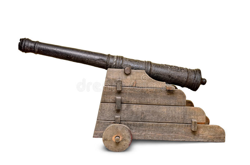 Ancient, iron cannon isolated on white background royalty free stock photography