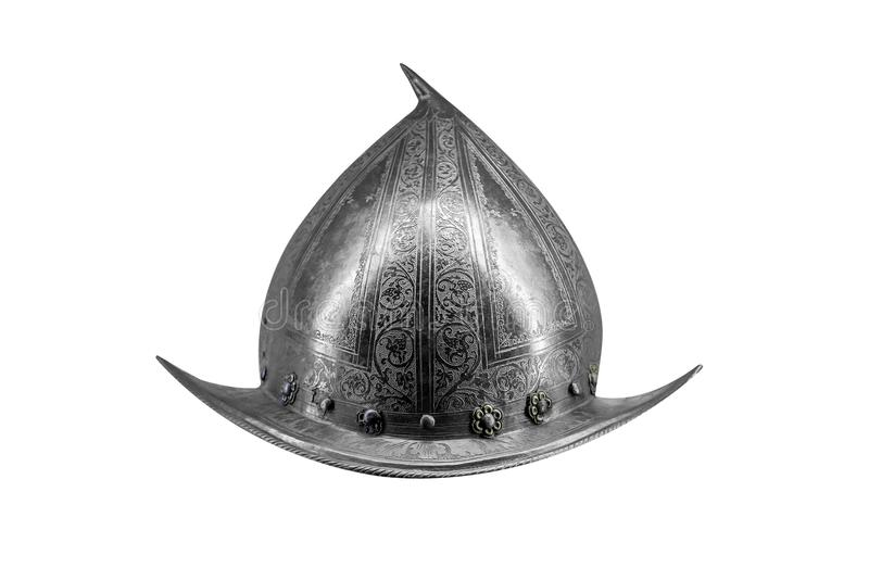 Ancient iron helmet isolated on white. stock photos