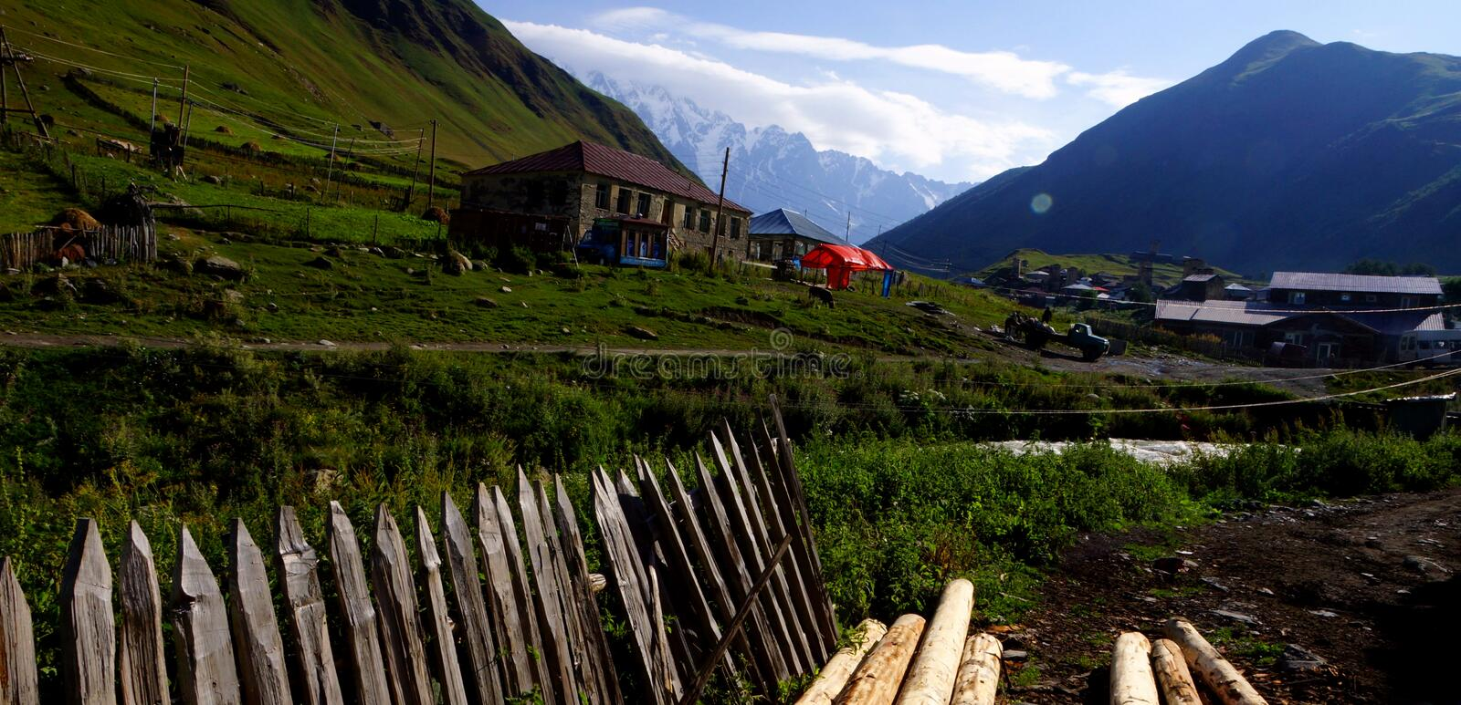 The village of Ushguli on a bright summer day. royalty free stock images
