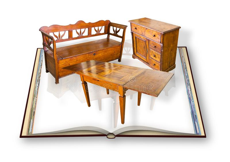 Ancient italian wooden furniture just restored - Concept with 3D render of an opened photo book isolated on white background stock illustration