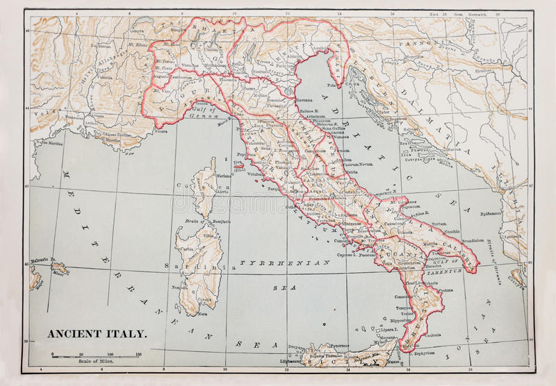 Ancient Italy Map Stock Photography