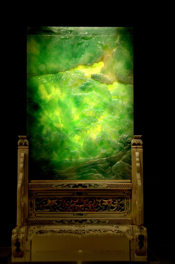 Ancient Jade Desk Screen. This is an ancient jade desk screen. The jade glows in the dark royalty free stock image