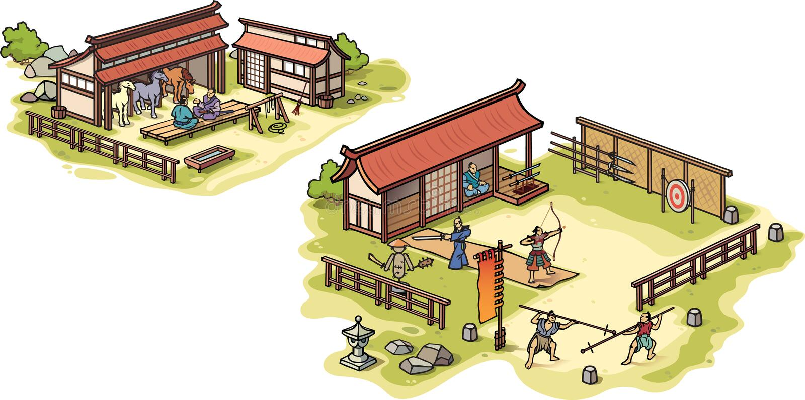 Download Ancient Japanese Samurai Training Camp And The Sta Stock Vector - Illustration: 24662414