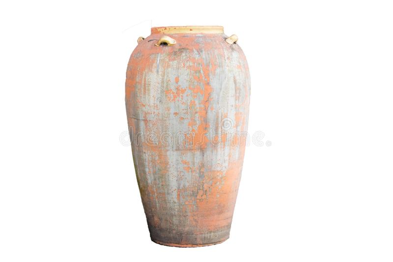 Ancient jar On a beautiful white background, suitable for design stock photos