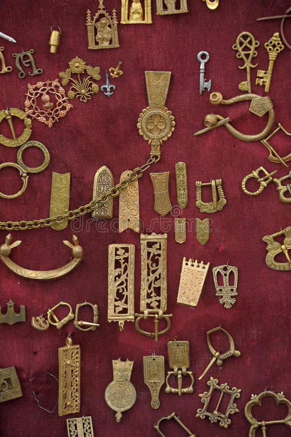 Ancient jewelry. Medieval copper amulets for sale stock photography