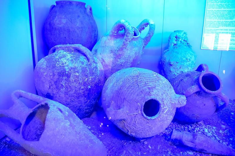 Ancient jugs and amphoras raised from the bottom of the sea. Antalya Antiquities Museum stock photos
