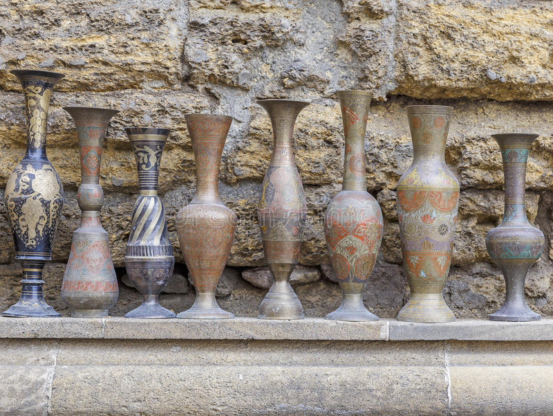 Ancient jugs sold in Baku on the street.Azerbaijan. Art stock photo