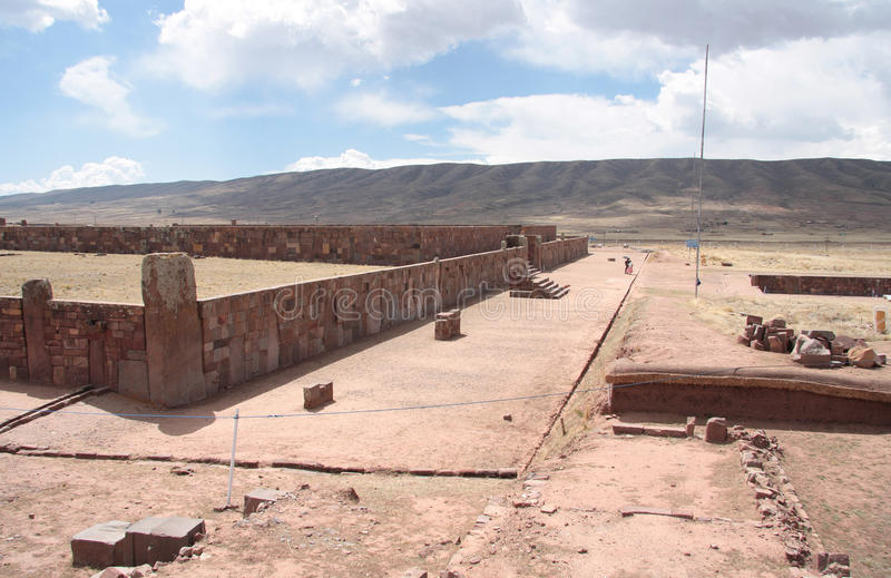Ancient Kalasasaya temple in Tiwanaku area, Bolivia. The Kalasasaya or Stopped Stones is a major archaeological structure that is part of the UNESCO World royalty free stock image