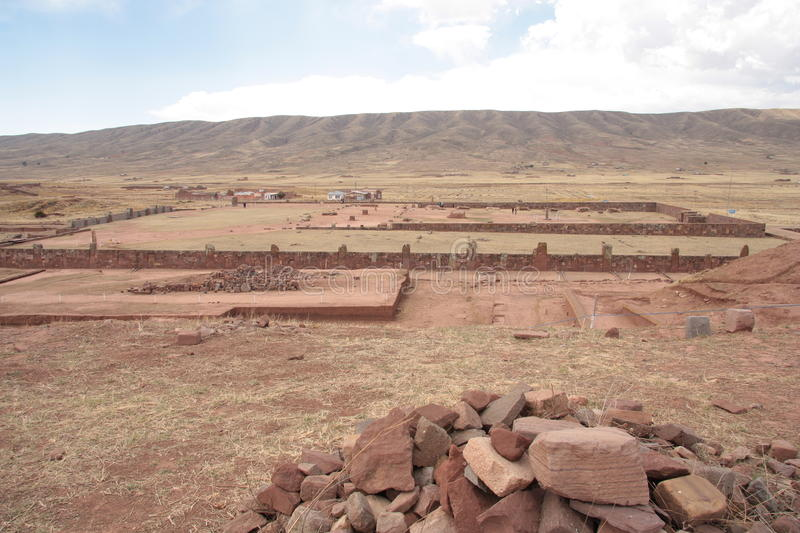 Ancient Kalasasaya temple, Tiwanaku, Bolivia. The Kalasasaya or Stopped Stones is a major archaeological structure that is part of the UNESCO World Heritage Site stock images