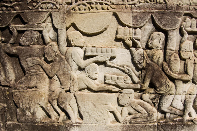 Ancient Khmer Carving Food Trays Stock Photography