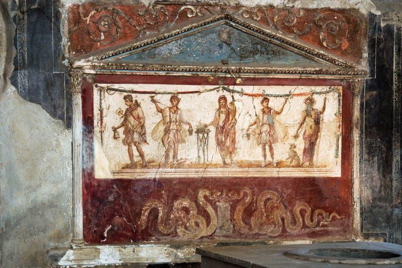 Ancient kitchen in Pompei. View of the fresco in ancient kitchen house in Pompei Italy stock image