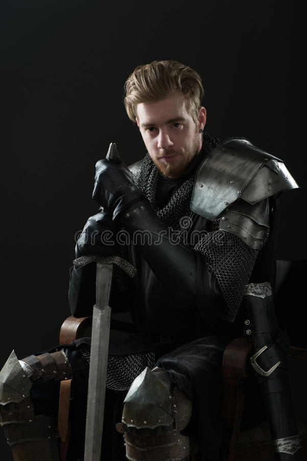 Free Ancient Knight In Metal Armor Stock Photography - 53781012