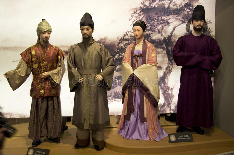 Ancient Korean figures and costumes stock images