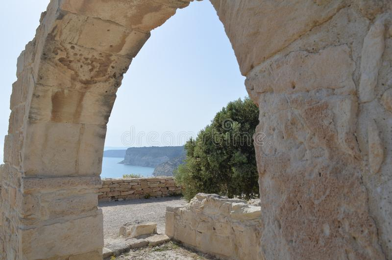 Ancient Kourion. Old greek arch ruin city of Kourion Limassol, Cyprus stock image