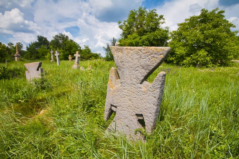 Ancient kozak cemetery with tombs and stone crosses of unknown warrior heroes of Bohdan Khmelnytsky rebellion royalty free stock images