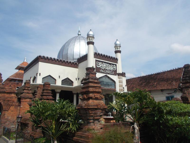 The ancient of kudus mosque indonesia. Ancient mosque on kudus, have hundred years of age. This mosque was built at kingdom of demak. Mesjid kuno di kota kudus royalty free stock images