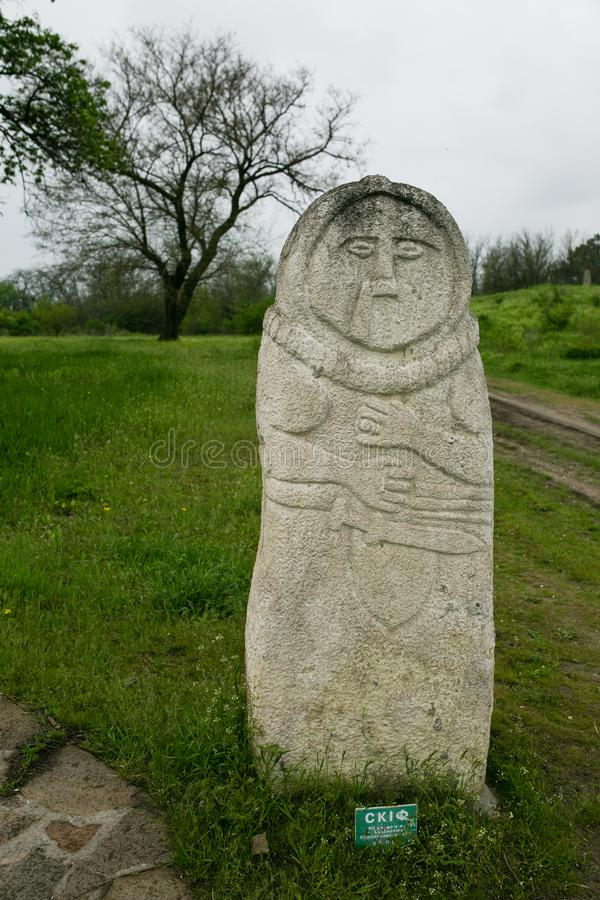 Ancient kurgan stelae in the Khortytsia isalnd, Zaporizhia, Ukraine. Stone babas royalty free stock photo