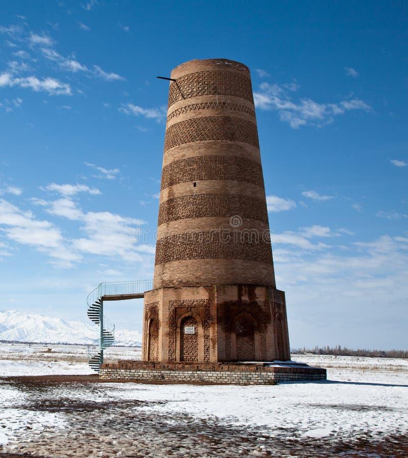 Ancient Kyrgyz Burana tower stock photography