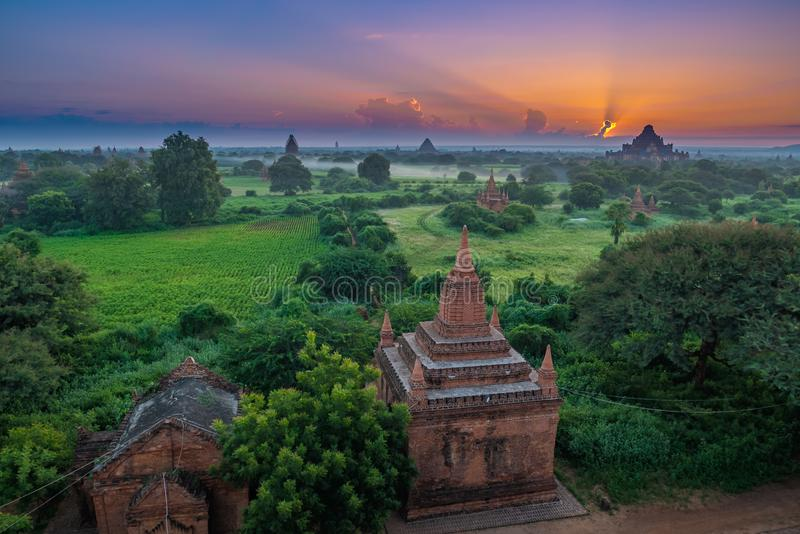 Ancient Land of Bagan view from the top of Shwesandaw Pagoda. In morning located in Bagan, Myanmar royalty free stock photos