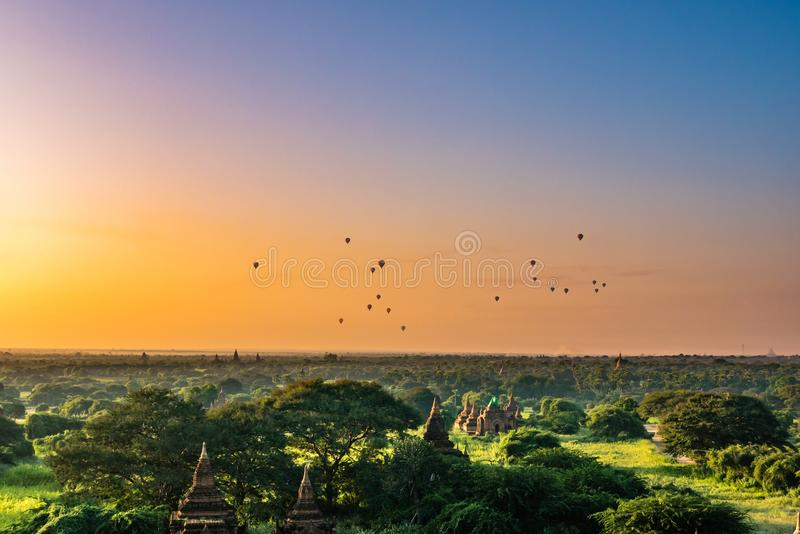 Ancient Land of Bagan view from the top of Shwesandaw Pagoda. In morning located in Bagan, Myanmar royalty free stock image