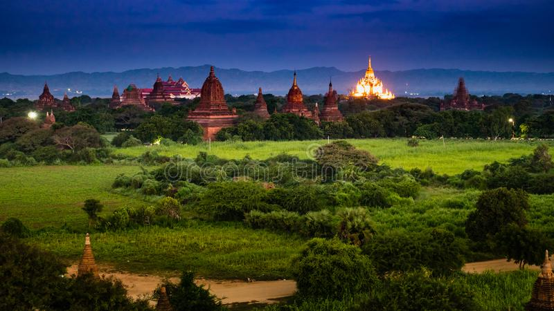 Ancient Land of Bagan view from the top of Shwesandaw Pagoda. In morning located in Bagan, Myanmar stock photo