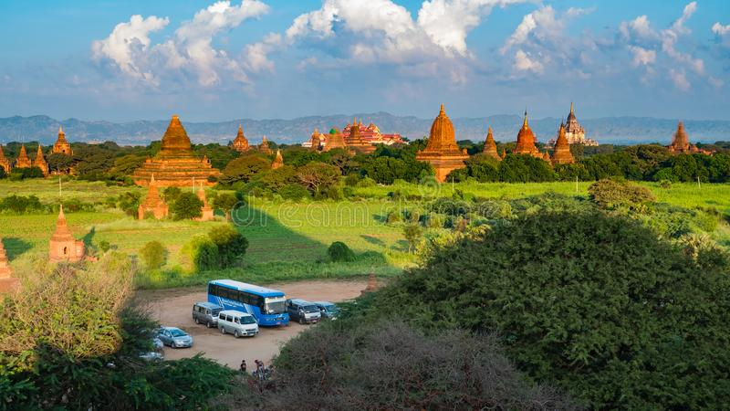 Ancient Land of Bagan view from the top of Shwesandaw Pagoda. In morning located in Bagan, Myanmar royalty free stock images